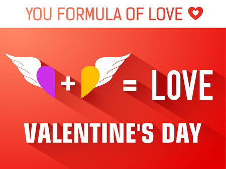 Romantic formula flat template with inscription and colorful wings pair on red background vector illustration