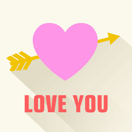 Valentines day flat poster with inscription pink heart pierced by yellow arrow on white background vector illustration Illustration