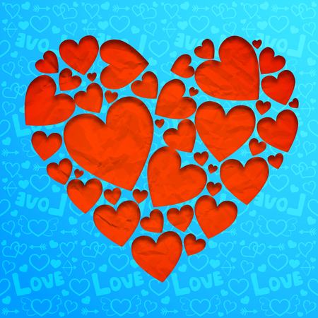 Valentines day light background with red hearts from crumpled paper on blue icons seamless pattern vector illustration