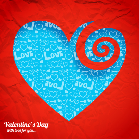Valentines day romantic background with blue icons heart shape cut from red crumpled paper vector illustration.