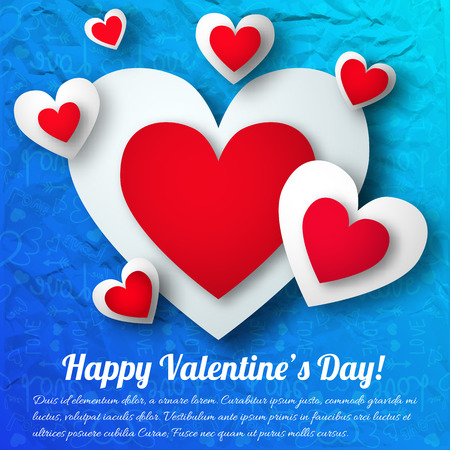 Beautiful lovely Valentines design with inscription, white and red hearts vector illustration