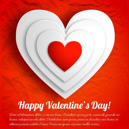 Het romantische mooie ontwerp van de groetkaart met witte harten op rode verfrommelde document geïsoleerde vectorillustratie