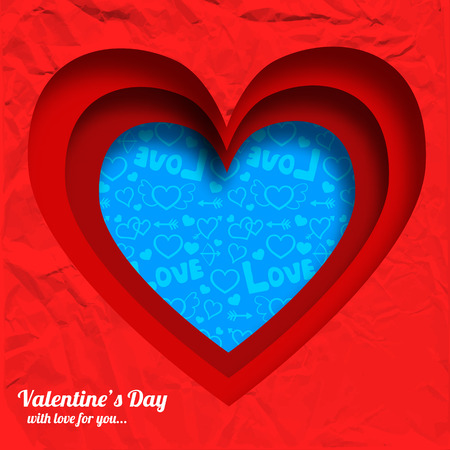 Valentines day elegant background with hearts shapes cut from red wrinkled paper vector illustration.