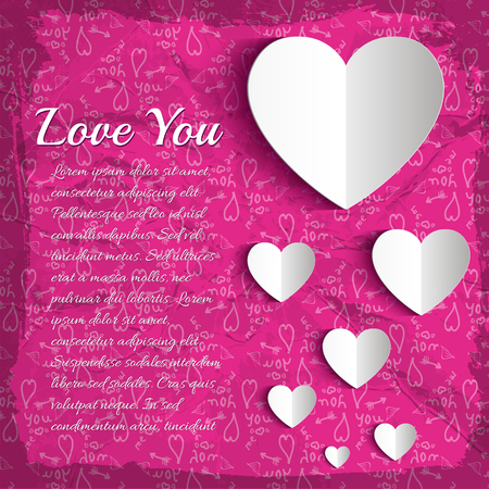 Greeting love template with text white paper hearts on pink hand drawn elements background vector illustration