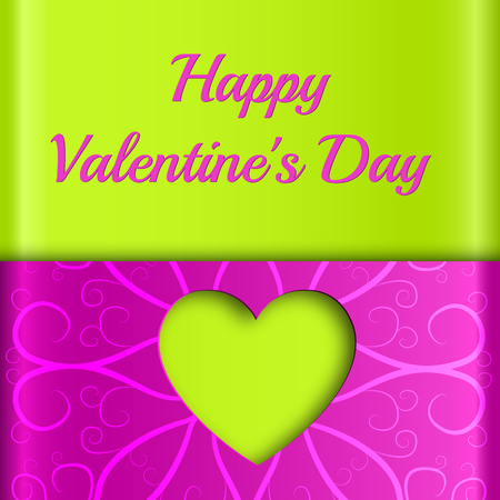 Colorful love template with green heart cut out from purple ornate paper background vector illustration