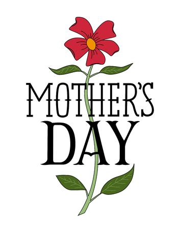 Floral Happy Mothers Day Congratulatory Template. Иллюстрация