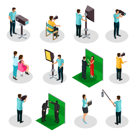 Isometric Movie Crew Shooting Collection.