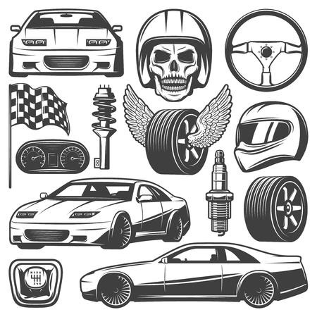 Vintage Car Racing Icons Set.