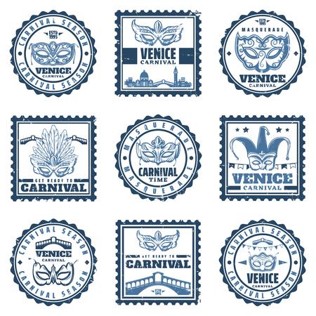 Vintage Traditional Venice Carnival Stamps Set. Vettoriali
