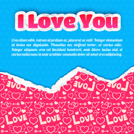Greeting lovely template with inscription blue ragged hearts paper and icons pink pattern vector illustration