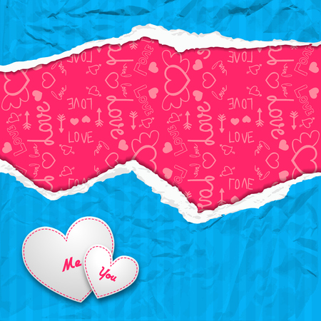 Valentines day composition with white hearts crumpled blue ragged striped paper and icons pink pattern vector illustration