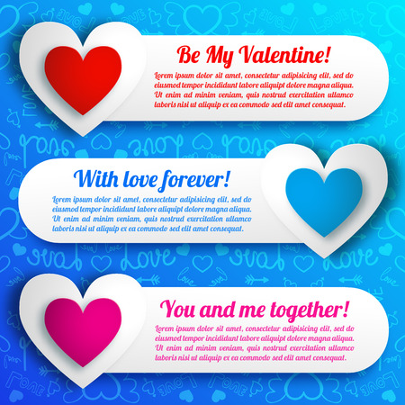Greeting amorous horizontal banners with text paper colorful hearts on blue icons seamless pattern isolated vector illustration Banco de Imagens - 92923610