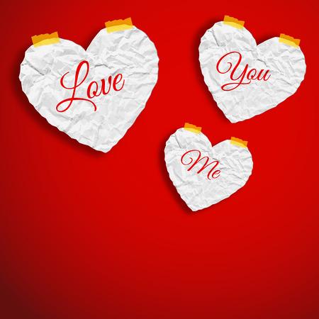 Het romantische abstracte malplaatje met verfrommelde document witte harten op rode achtergrond isoleerde vectorillustratie