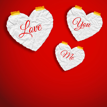 Romantic abstract template with crumpled paper white hearts on red background isolated vector illustration Banco de Imagens - 92923321