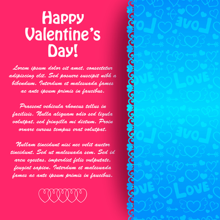 Lovely greeting card with text paper blue icons pattern and pink background vector illustration Banco de Imagens - 92923307