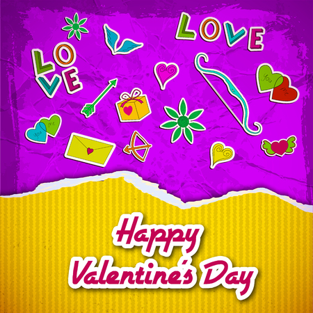 Amorous greeting template with yellow striped ragged paper romantic cartoon elements on purple crumpled background vector illustration Illustration