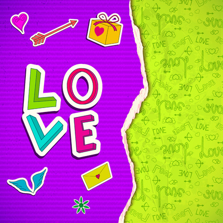 Happy Valentines day poster with purple striped ragged paper. Romantic elements and green icons background. Vector illustration.