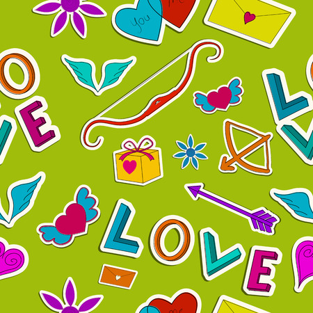 Amorous seamless pattern with paper romantic colorful cartoon elements on green background vector illustration