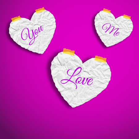 Valentines day template with wrinkled paper white hearts with words on purple background isolated vector illustration