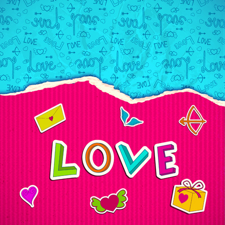 Beautiful love poster with pink striped torn paper romantic cartoon elements and blue icons background vector illustration Illustration