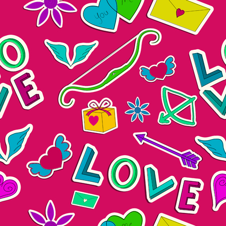 Lovely seamless pattern with paper romantic colorful cartoon elements on light background vector illustration Banco de Imagens - 92923394