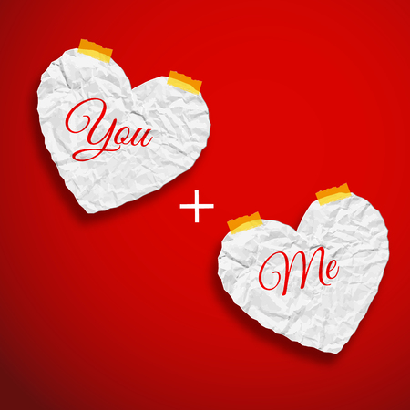 Romantic love template with crumpled paper white hearts with words on red background isolated vector illustration
