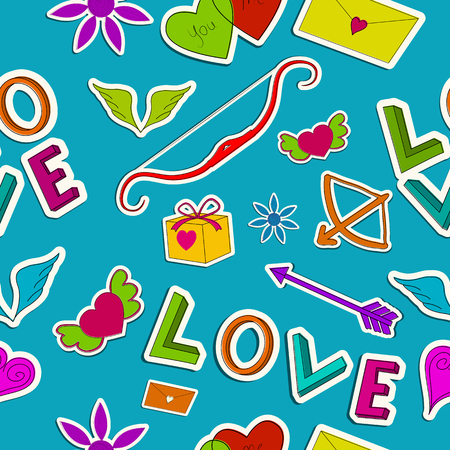 Beautiful love seamless pattern with paper romantic colorful cartoon elements on blue background vector illustration