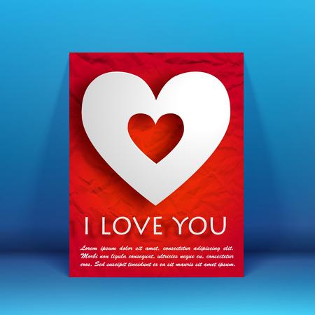 De valentijnskaartendag viert vlieger met tekst en wit hart op verfrommelde document achtergrond geïsoleerde vectorillustratie