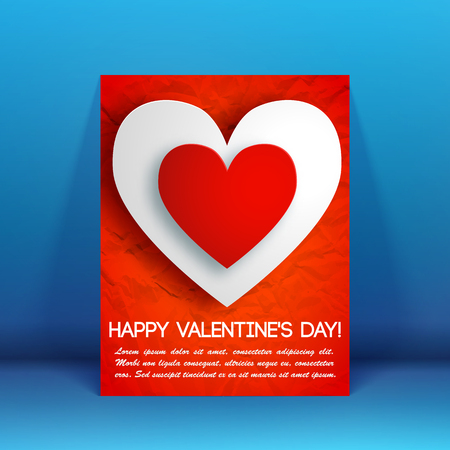Romantic beautiful greeting flyer with text and colorful elegant hearts on crumpled paper background isolated vector illustration