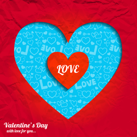 Valentines day romantic background with cut heart from red crumpled paper and blue icons pattern vector illustration