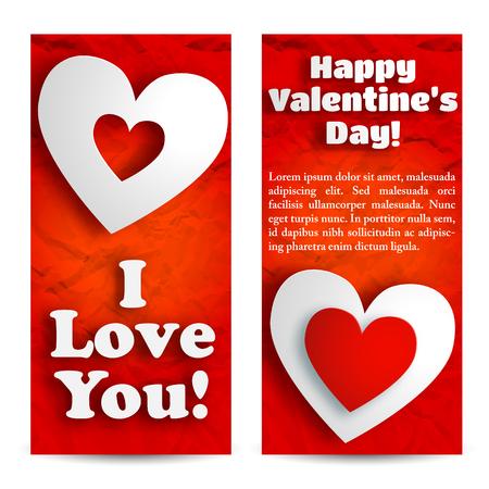 De mooie verticale banners van de valentijnskaartendag met tekst en witte harten op rode verfrommelde document geïsoleerde vectorillustratie