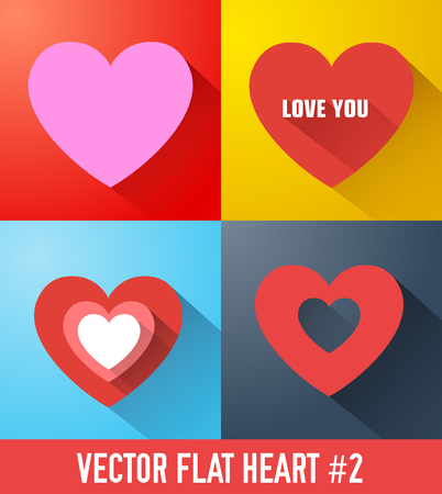 Romantic icons collection with colorful hearts in flat style and long shadows isolated vector illustration Ilustração
