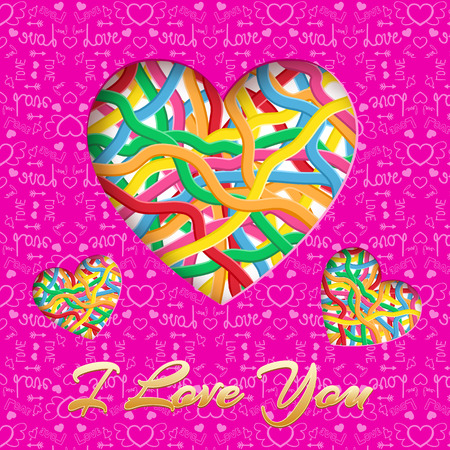 Romantic light poster with inscription hearts consists of colorful interweaving ribbons on purple icons background vector illustration 版權商用圖片 - 93072187