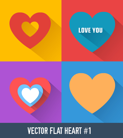 Colorful hearts set on squares in flat style and long shadows isolated vector illustration Banco de Imagens - 93072189