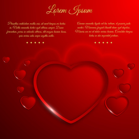 Romantic Valentines day template with greeting text and bright red beautiful hearts vector illustration