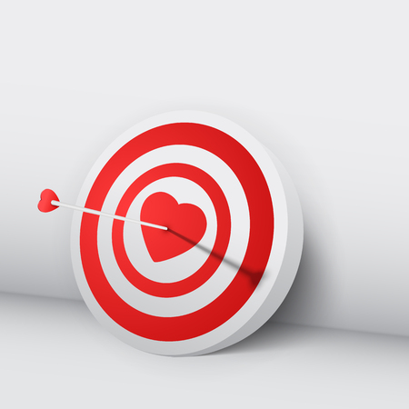 Happy Valentines day concept with 3d arrow hit target in heart on white background isolated vector illustration