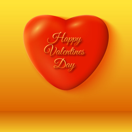Bright romantic template with inscription 3d red heart on orange background isolated vector illustration Banco de Imagens - 93072708