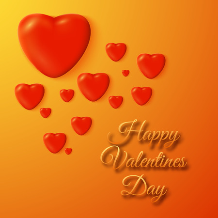 Decorative romantic poster with greeting inscription red hearts on orange background isolated vector illustration
