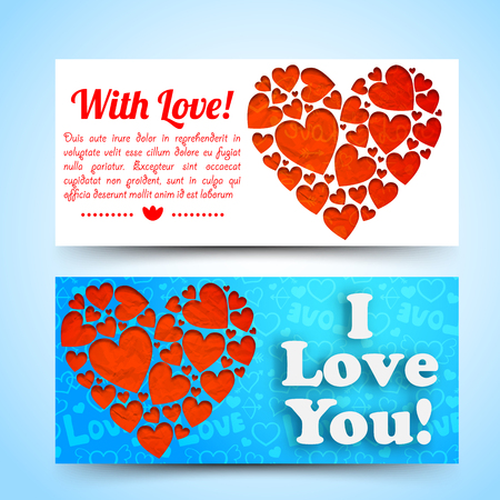 Elegant amorous horizontal banners with text red hearts composition on white blue icons background isolated vector illustration