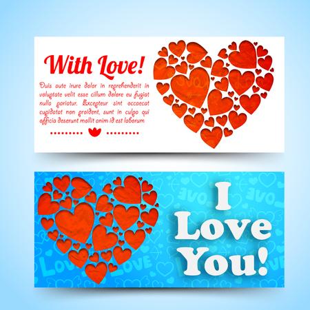 Elegante verliebte horizontale Fahnen mit roter Herzzusammensetzung des Textes auf weißem blauem Ikonenhintergrund lokalisierten Vektorillustration Vektorgrafik