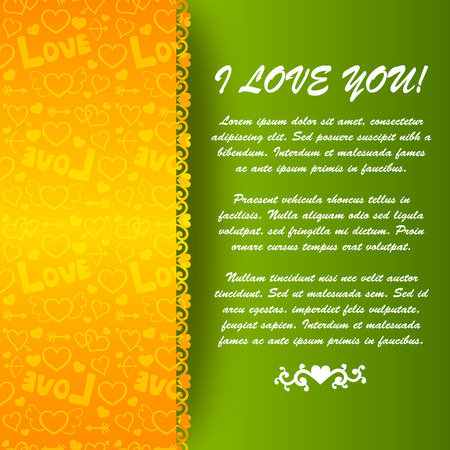 Happy Valentines day poster with greeting text green background and paper icons orange pattern vector illustration Ilustração