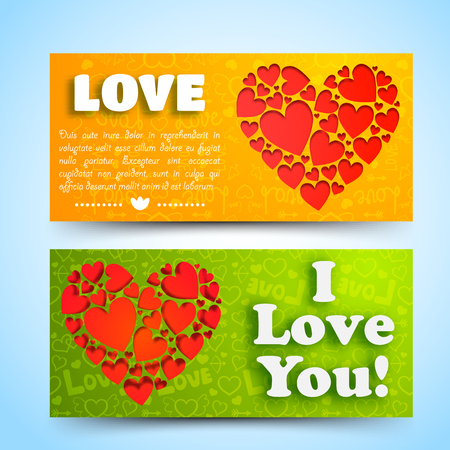 Valentines day horizontal banners with text red hearts composition on orange green icons background isolated vector illustration