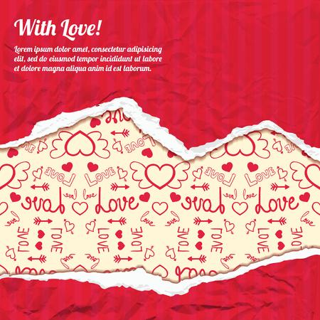 Het malplaatje van de valentijnskaartendag met tekst rode gescheurde verfrommelde document en pictogrammen lichte patroon vectorillustratie Stock Illustratie