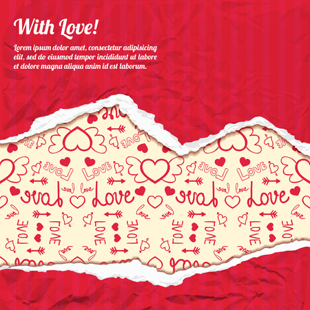 Valentines day template with text red torn crumpled paper and icons light pattern vector illustration