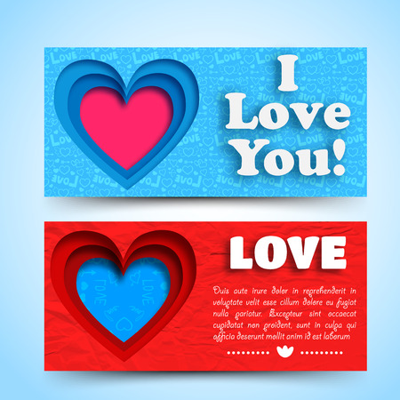 Romantic greeting horizontal banners with text colorful cut hearts on blue and red background isolated vector illustration