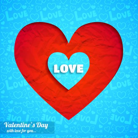 Romantisch elegant malplaatje met gesneden harten gerimpeld document en de blauwe vectorillustratie van het pictogrammen naadloze patroon. Stock Illustratie