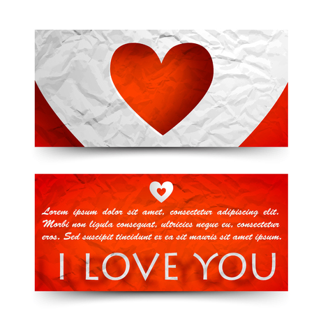 Beautiful decorative greeting horizontal banners with text cut heart on red crumpled paper isolated vector illustration Illustration