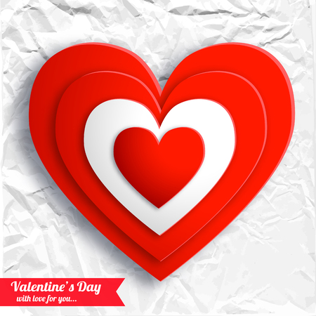 Valentines day beautiful background with red hearts on white crumpled paper isolated vector illustration