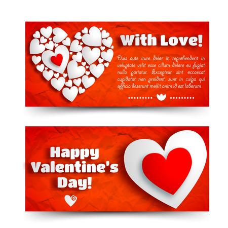 De romantische groet horizontale banners met tekst en witte hartensamenstelling op rode verfrommelde document isoleerden vectorillustratie