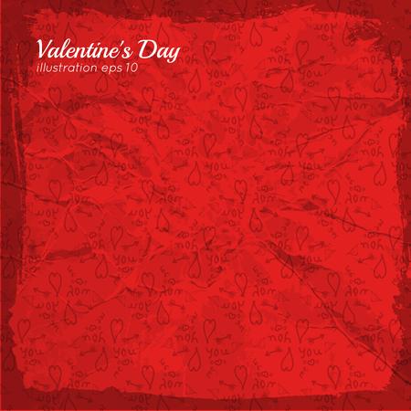 Romantisch Valentijnsdagmalplaatje in rode kleuren en schetselementen verfrommelde document vectorillustratie als achtergrond